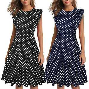 Women-039-s-Vintage-Ruffle-Polka-Dot-Flared-A-Line-Swing-Casual-Cocktail-Party-Dress