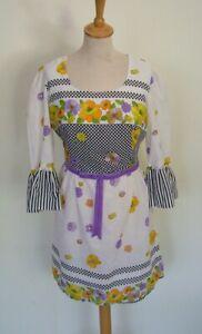 Vintage 60 S White Floral Cotton Fitted Mini Tunique Pop Mod Dress Uk 12-afficher Le Titre D'origine Gagner Une Grande Admiration Et On Fait Largement Confiance à La Maison Et à L'éTranger.