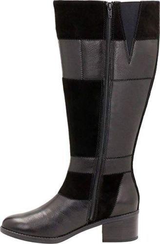 Femme Cuir Nouveau Nova Noir Pour Bottes En D nevella 4 Clarks Longues Uk Combi rCC8Rx
