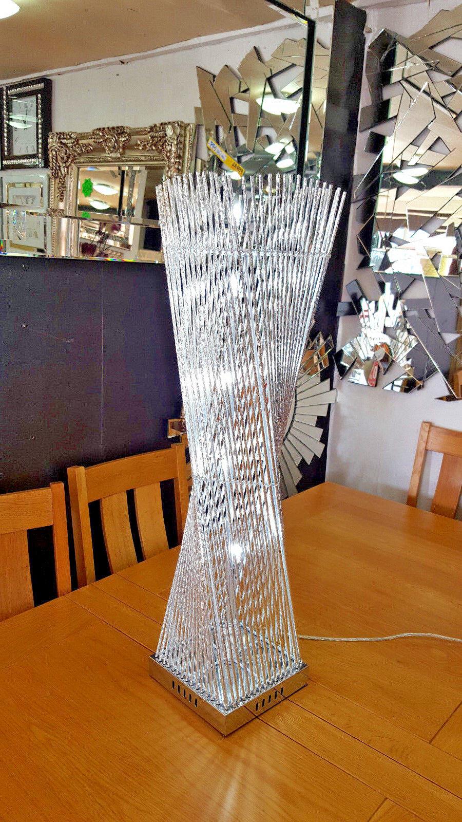 Prisme moderne sol/Lampe de table aluminium aluminium aluminium metal Twist fil 84x20cm Argent DEL   Magasiner  384212