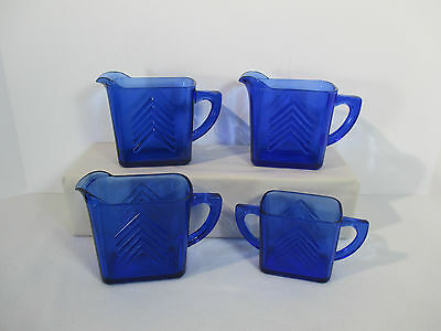 Hazel Atlas Cobalt Blue Chevron Pitchers Sugar Bowl Art Deco Vtg 1930 Lot of 4