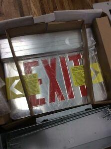 Image is loading Elite-Lighting-ELX-606R-Recessed-LED-Edge-Lit- & Elite Lighting ELX-606R Recessed LED Edge-Lit Exit Sign single ...