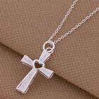 Cross Chain Crystal Heart Necklace Pendant Ladies Girls 925 Sterling Silver