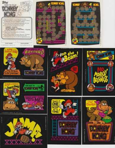 1982 DONKEY KONG COMPLETE SET OF 32 STICKERS AND 4 UNSCRATCHED GAME CARDS
