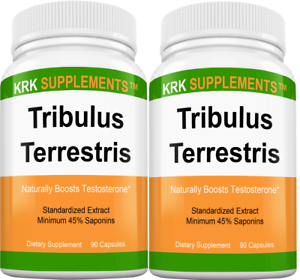 2 Pack Tribulus Terrestris 1000mg 45% Saponins Extract Testosterone Booster