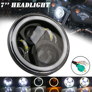 7-034-Pouce-Moto-Phare-Projecteur-LED-Ange-Halo-Oeil-Feux-Avant-Pour-Harley-Jeep-JK