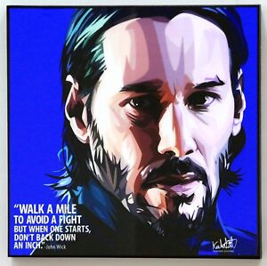 Details About John Wick Keanu Reeves Pop Art Canvas Quote Wall Decals Painting Poster