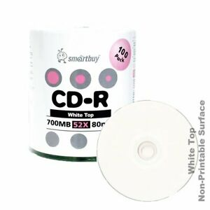200 Grade A 52X White Top Blank CD-R CDR Recordable Disc Media 700MB 80Min