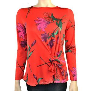 Ex-Debenhams-motif-floral-orange-Lily-Print-Blouse-Top-Tie-Front-Tailles-10-18-20-22