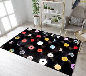 Music Theme Retro Vinyl Records Pattern Area Rugs Bedroom Living Room Floor Mat