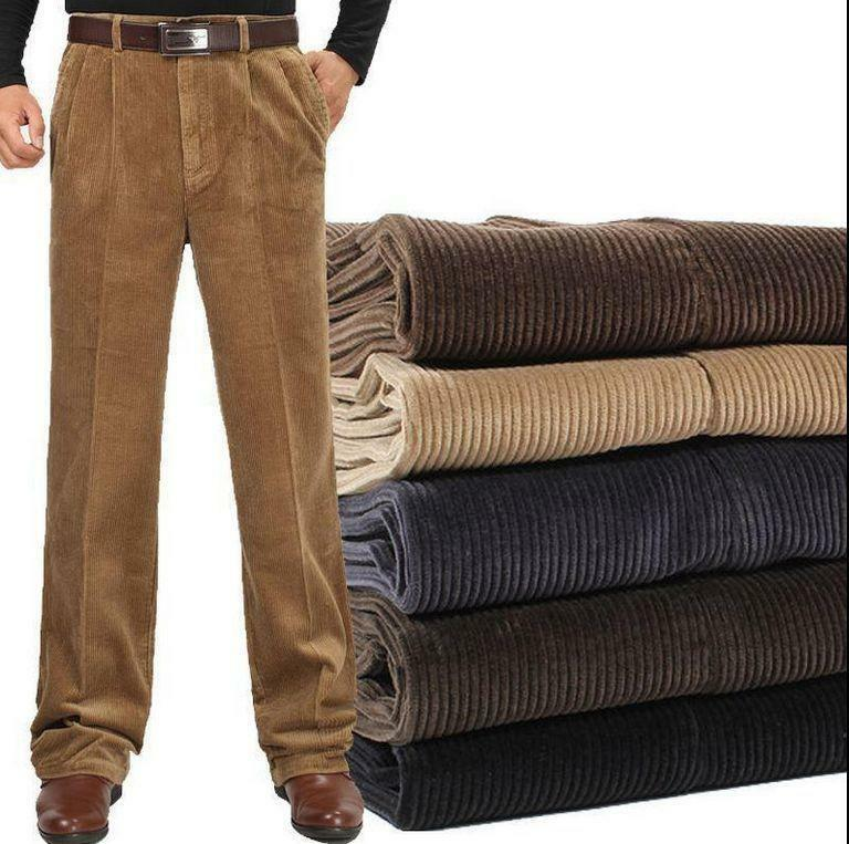 Mens Retro Cotton Warm Dress Corduroy Trousers Loose Comfy Casual Pants Formal