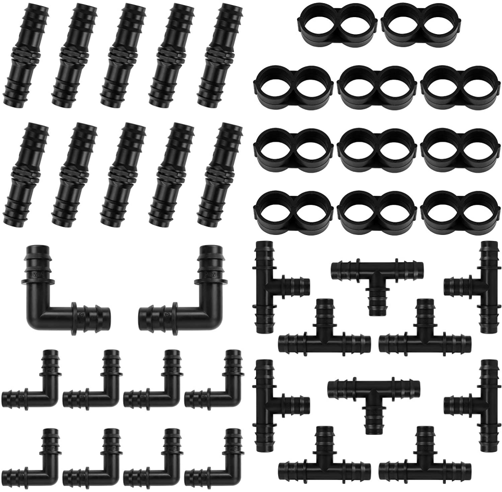 Huahao 40 Pieces Set Drip Irrigation Fittings Kit for 16mm Tubing, 10...