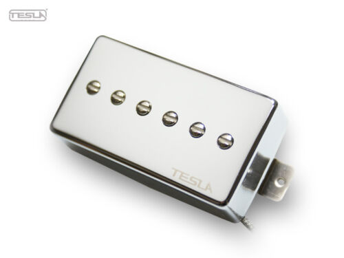 TESLA OPUS-2 BRIDGE PICKUP WITH CHROME COVER FOR LES PAUL P-90 STYLE GUITARS