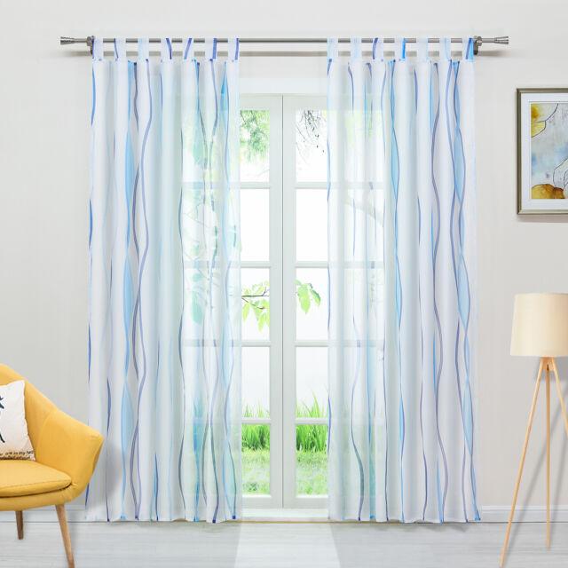 1 Stück Voile Gardinenschal Transparenter Vorhang Wellendruck  Tüllgardine Blau