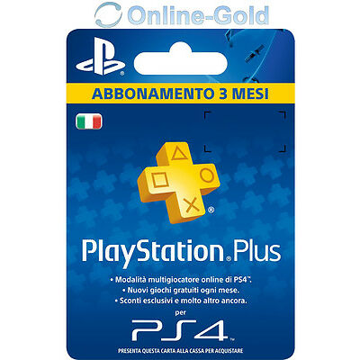 Abbonamento PLAYSTATION PLUS 3 Mesi - 90 GIORNI PSN PS4 PS3 PS Vita - ITALIA