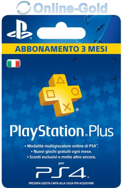 Abbonamento PLAYSTATION PLUS 3 Mesi - 90 GIORNI PSN PS4 PS3 PS Vita - ITALIA