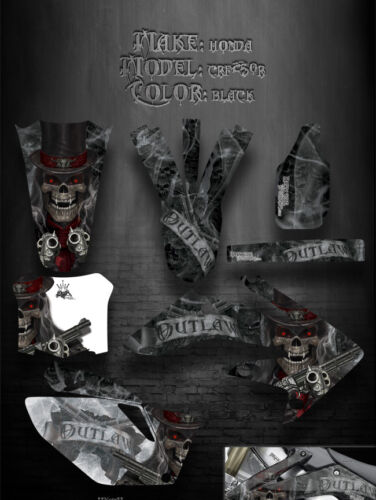 "HONDA 2004-2009 CRF250 CRF250R GRAPHICS DECALS KIT /""THE OUTLAW/"" SKULLS BLACK 05"