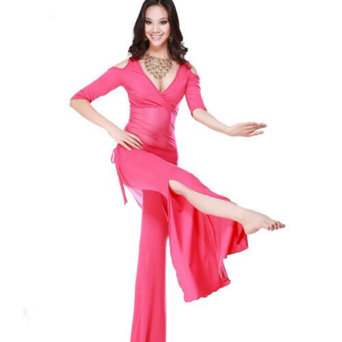 Hose  Belly Dance Übungskostüm C828 Bauchtanz Kostüm mit 2 Teile Oberteil Top