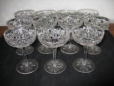 Antique Set 11 Baccarat Crystal Champagne Globets Glasses Lagny Pattern Marked