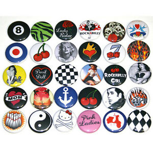 RETRO-ROCKABILLY-BADGES-x-30-Buttons-Pins-Wholesale-Lot-25mm-1-034-One-Inch