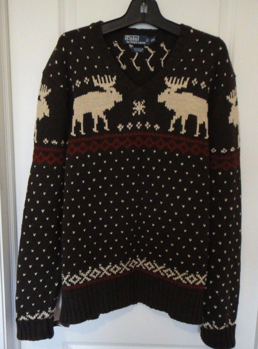 POLO by Ralph Lauren Brown Ivory Moose Print Linen Blend Blend Blend SweaterSz-XXLCLASSY 413313