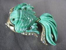 Vintage Un-Signed Hattie Carnegie Green Marbleized Pin Lucite Gold Fish Brooch