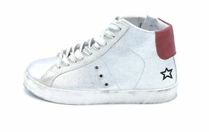 In my Shoes in my 28 sneakers alte in laminato argento e pelle rossa ... a9cd4552f34