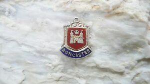 Vintage  DONCASTER Silver amp Enamel Travel Shield Charm - Scrooby, Nottinghamshire, United Kingdom - Vintage  DONCASTER Silver amp Enamel Travel Shield Charm - Scrooby, Nottinghamshire, United Kingdom