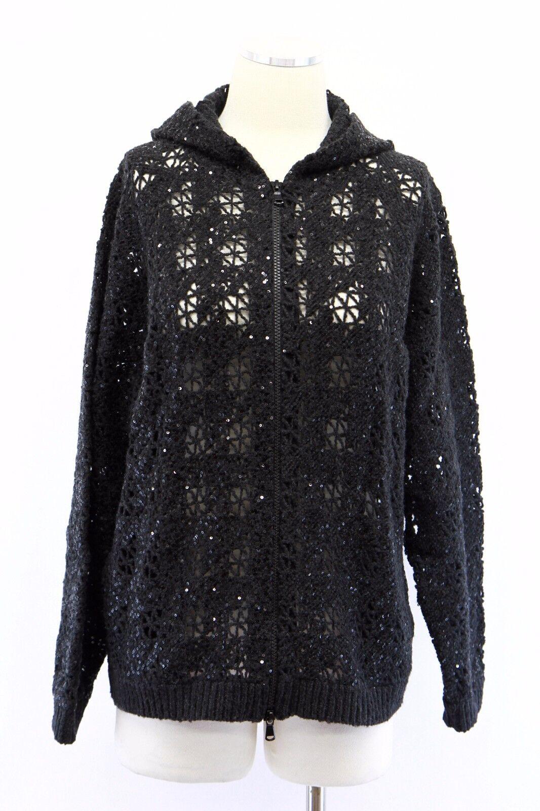 NWT  5445 Brunello Cucinelli Cucinelli Cucinelli Cashmere-Wool Sparkly Sequined Crochet Zip Hoodie M 0dbee4