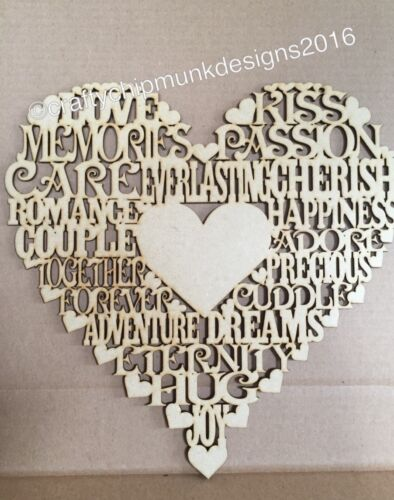 Heart With More Words 300x300mm Mdf wooden laser cut