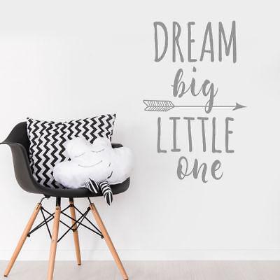 Dream Big Piccolino Vivaio Parete Adesivo Decalcomania Citazione Camera Da Letto-colore Opzione-