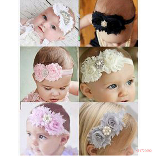 Hot Babies Children Toddlers Girls Floral Rhinestone Pearls  Headband YHA0098
