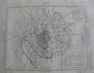 1835-Carte-Atlas-Geographique-France-Seine-Paris-Villejuif-St-Denis-Clichy