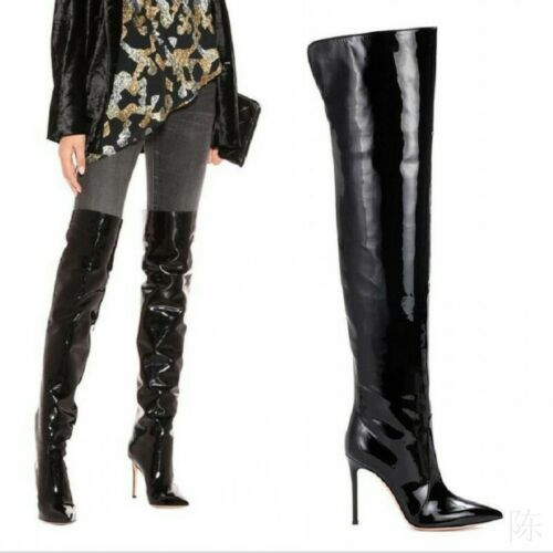 High Stilettos Heels Patent Leather Pointy Toe Women Over Knee High Thigh Boots