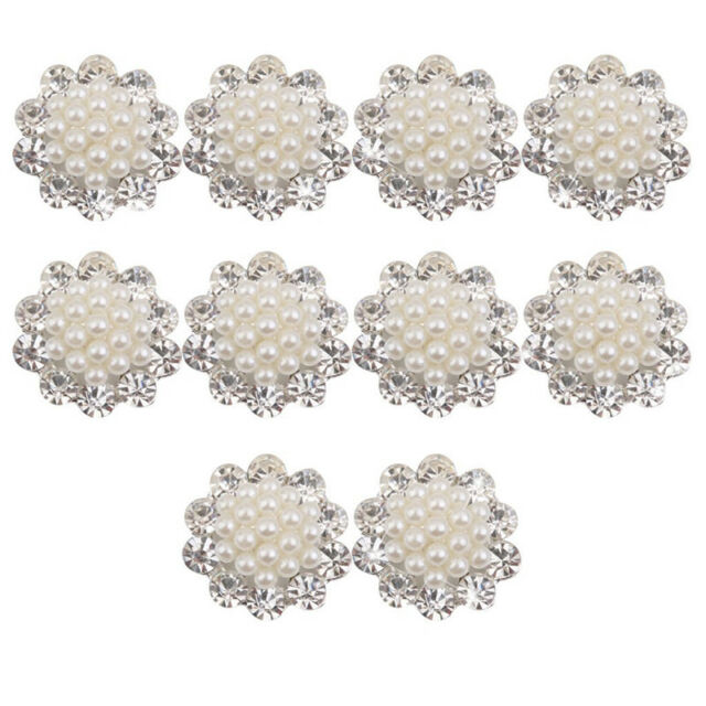 Faux Pearl Flower Buttons Craft Embellishments 20mm Pack of 10 V6B6