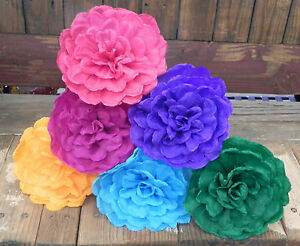 Mexican Crepe Paper Flowers Set Of 6 Multicolor Ondaswe Make