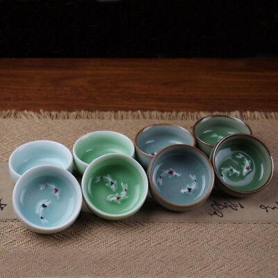 one color one piece porcelain hand carving fish tea cup bowl home decoration