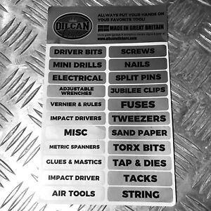 Workshop-garage-storage-drawer-tool-labels-garage-gear-50x-silver-stickers