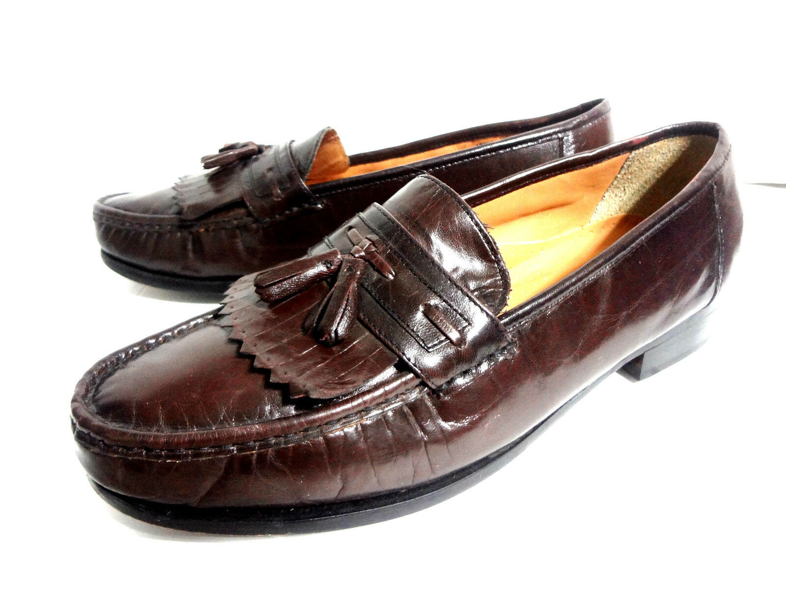 NUNN BUSH SIZE 10.5 M MENS LOAFERS TASSEL BROWN LEATHER SHOES