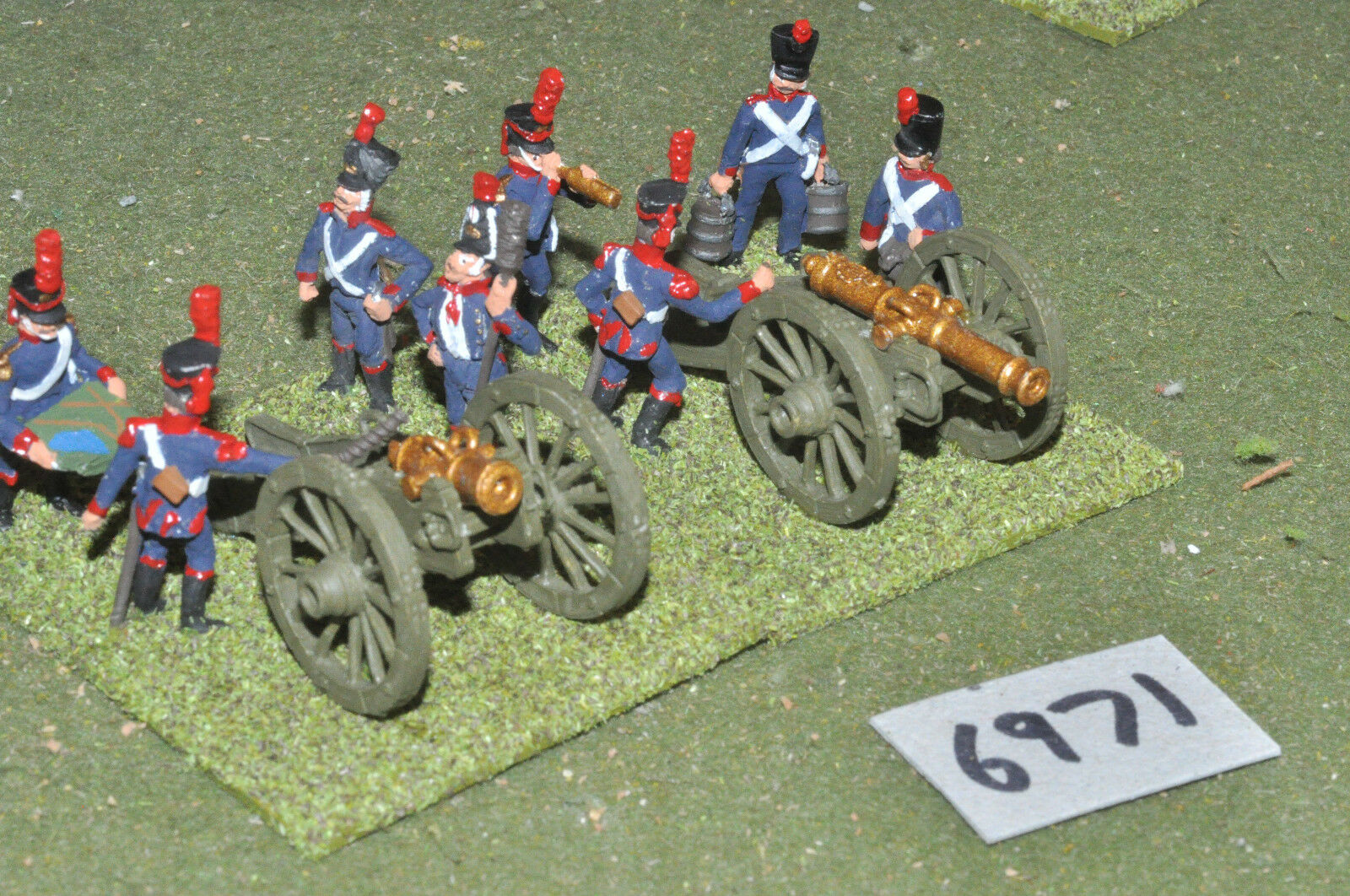 25mm napoleonic   french - artillery 2 guns crew metal painted - art (6971)