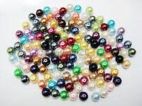 200x 4mm/100 x 6mm/50 x 8mm/20 x10mm/10x 12mm Glass Pearl Beads - Various Colour