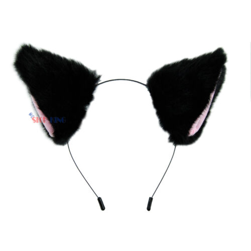 Cat Fox Ear Cat Tail Fur Clip Headband Neko Anime Cosplay Party Costume Gift C