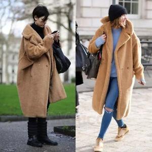 luxury womens winter coats teddy bear feel long oversized. Black Bedroom Furniture Sets. Home Design Ideas
