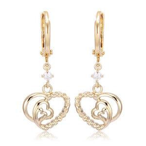 3074e9522 Child Girls Safety Heart drop Hoop Earrings long 14K Gold plated ...