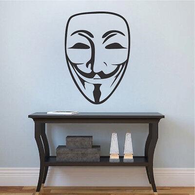 Guy Fawkes Wall Decal V For Vendetta Wallpaper Mural Vinyl Face Mask Design g62