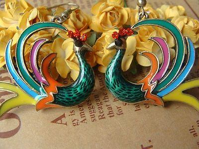 NEW Retro Betsey Johnson Beautiful Drip Peacock Crystal Alloy Earrings BJEA024