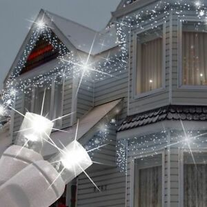 Christmas Led Snowing Icicle Lights Bright White Blue Xmas