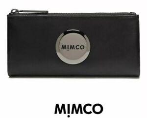 MIMCO-Black-Fold-Wallet-MIM-Gunmetal-Leather-Purse-Clutch-BNWT-Authentic-RRP-179