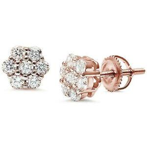 White-Sapphire-Flower-Stud-Earrings-w-Screw-Back-14k-Rose-Gold-Sterling