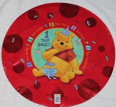 "NEW 1 WINNIE THE POOH 1ST YEAR SWEET  MYLAR BALLOON 18/"" PARTY FAVORS SUPPLIES"